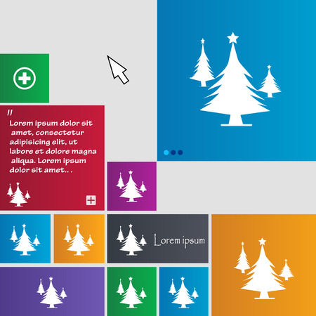 coniferous forest: coniferous forest, tree, fir-tree icon sign. buttons. Modern interface website buttons with cursor pointer. Vector illustration Vectores