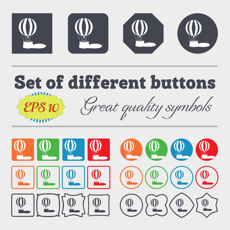 ballooning: Hot air balloon icon sign. Big set of colorful, diverse, high-quality buttons. Vector illustration Illustration