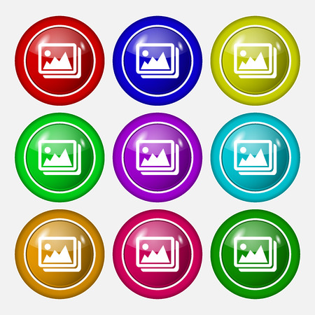 colourful images: images, jpeg, photograph icon sign. symbol on nine round colourful buttons. Vector illustration Illustration