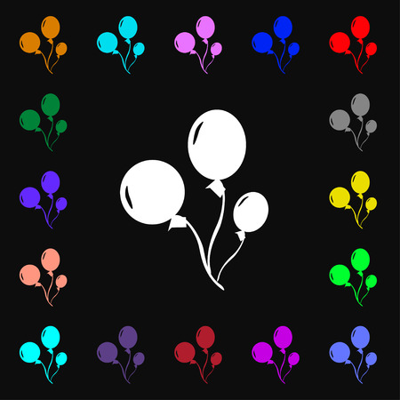 large group of object: Balloons icon sign. Lots of colorful symbols for your design. Vector illustration