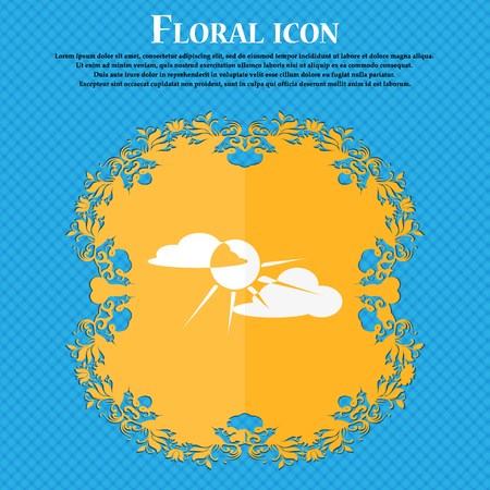 cutouts: sun behind cloud icon. Floral flat design on a blue abstract background with place for your text. Vector illustration