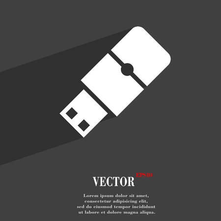 sumbol: USB flash symbol Flat modern web design with long shadow and space for your text. Vector illustration Illustration
