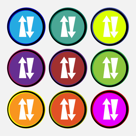 two way traffic: Two way traffic, icon sign. Nine multi colored round buttons. Vector illustration Illustration