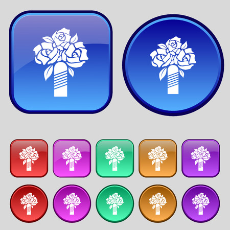 wedding bouquet: wedding bouquet icon sign. A set of twelve vintage buttons for your design. Vector illustration