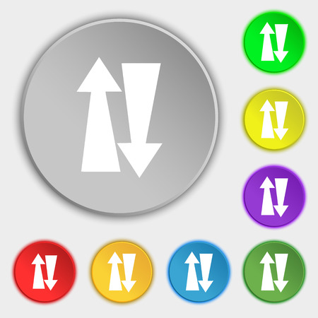 two way traffic: Two way traffic, icon sign. Symbol on eight flat buttons. Vector illustration