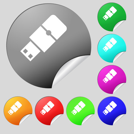 sumbol: USB flash icon sign. Set of eight multi colored round buttons, stickers. Vector illustration