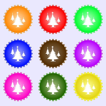 coniferous forest: coniferous forest, tree, fir-tree icon sign. Big set of colorful, diverse, high-quality buttons. Vector illustration