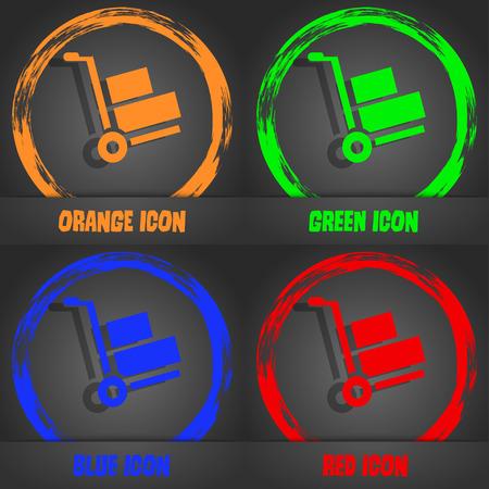 hydraulic platform: Loader icon. Fashionable modern style. In the orange, green, blue, red design. Vector illustration