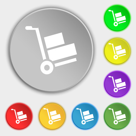 warehousing: Loader icon sign. Symbol on eight flat buttons. Vector illustration