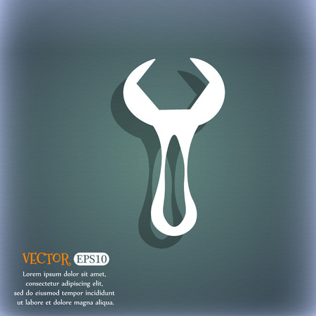 option key: wrench icon. On the blue-green abstract background with shadow and space for your text. Vector illustration