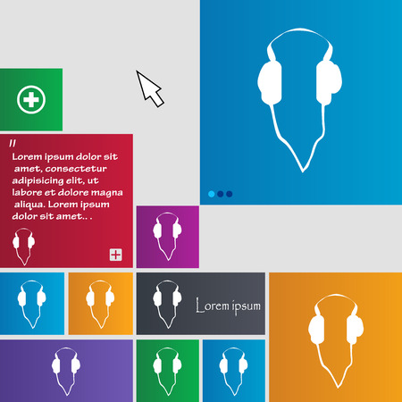 website buttons: headphones icon sign. buttons. Modern interface website buttons with cursor pointer. Vector illustration