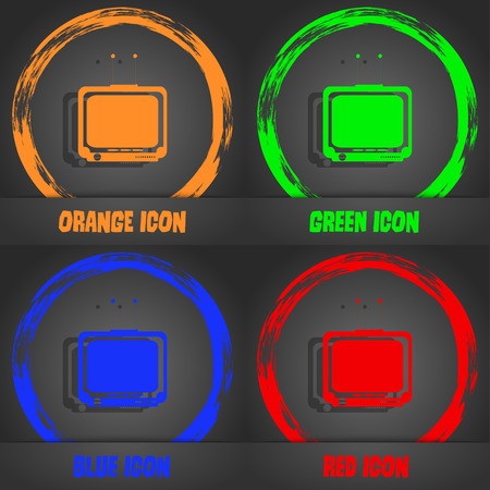 tvset: TV icon. Fashionable modern style. In the orange, green, blue, red design. Vector illustration