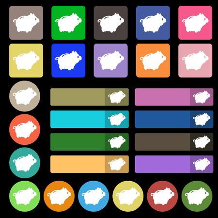 signo de pesos: Piggy signo icono de banco. Conjunto de veinte y siete botones planos multicolores. ilustración vectorial Vectores