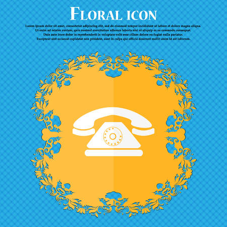 ring tones: Retro telephone icon. Floral flat design on a blue abstract background with place for your text. Vector illustration