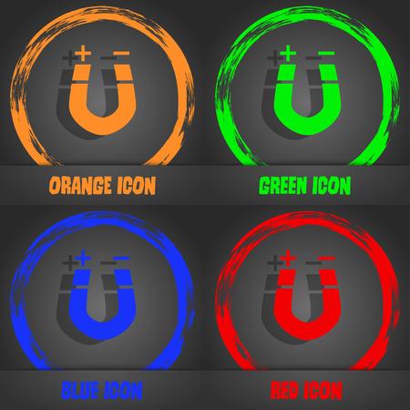 magnetismo: im�n de herradura, el magnetismo, magnetizar, atracci�n icono. elegante estilo moderno. En el dise�o de color naranja, verde, azul, rojo. ilustraci�n vectorial