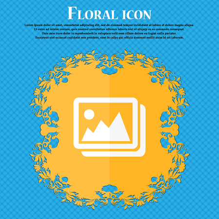 jpeg: images, jpeg, photograph icon. Floral flat design on a blue abstract background with place for your text. Vector illustration Illustration