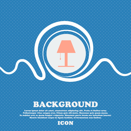 illuminate: Lamp icon sign. Blue and white abstract background flecked with space for text and your design. Vector illustration