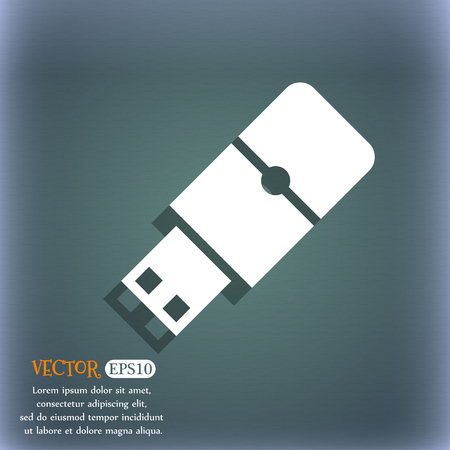 sumbol: USB flash icon. On the blue-green abstract background with shadow and space for your text. Vector illustration