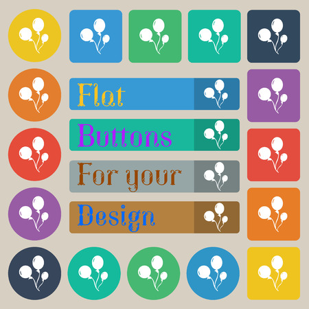 Balloons icon sign. Set of twenty colored flat, round, square and rectangular buttons. Vector illustration