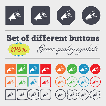 sos: sos web speaker icon sign. Big set of colorful, diverse, high-quality buttons. Vector illustration