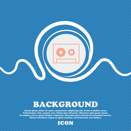compact cassette: cassette sign icon. Audiocassette symbol. Blue and white abstract background flecked with space for text and your design. Vector illustration