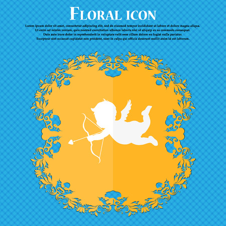 hand beats: Cupid icon. Floral flat design on a blue abstract background with place for your text. Vector illustration Illustration