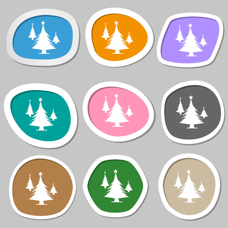 coniferous forest: coniferous forest, tree, fir-tree symbols. Multicolored paper stickers. Vector illustration Vectores