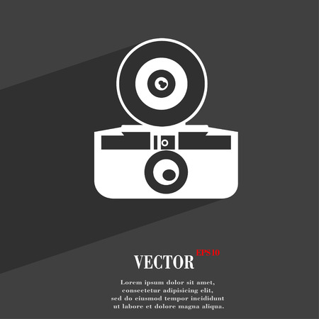 reflex camera: retro photo camera symbol Flat modern web design with long shadow and space for your text. Vector illustration Illustration