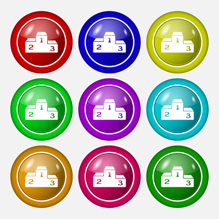 lustre: Podium icon sign. symbol on nine round colourful buttons. Vector illustration