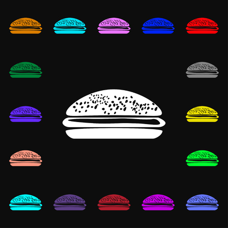 lunchroom: Burger, hamburger icon sign. Lots of colorful symbols for your design. Vector illustration