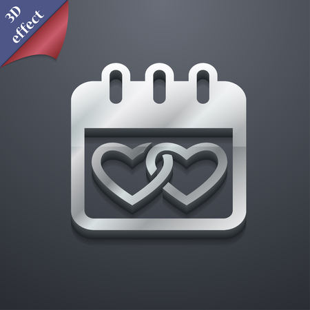 february 14: Calendar, heart, Valentines day, February 14, Love icon symbol. 3D style. Trendy, modern design with space for your text Vector illustration