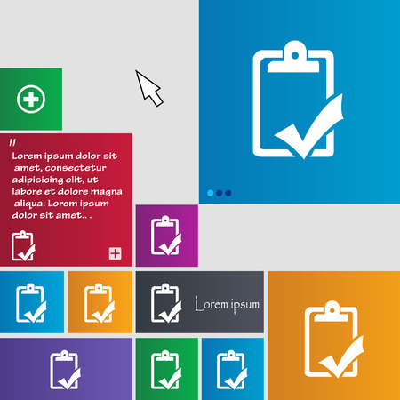 syllabus: Document grammar control, Test, work complete icon sign. buttons. Modern interface website buttons with cursor pointer. Vector illustration