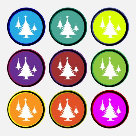 coniferous forest: coniferous forest, tree, fir-tree icon sign. Nine multi colored round buttons. Vector illustration