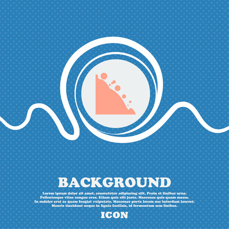 tumble down: Rockfall icon. Blue and white abstract background flecked with space for text and your design. Vector illustration Illustration