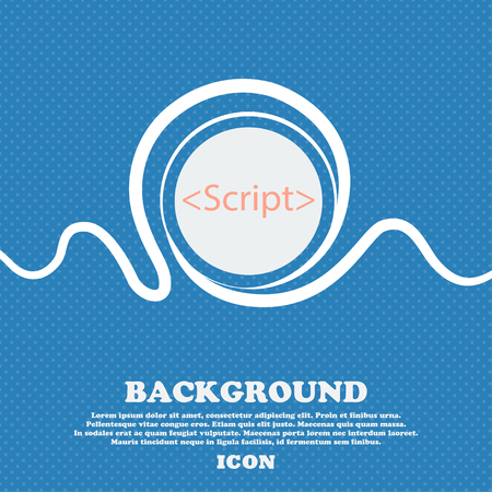 javascript: Script sign icon. Javascript code symbol. Blue and white abstract background flecked with space for text and your design. Vector illustration