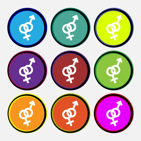 manhood: Male and female icon sign. Nine multi colored round buttons. Vector illustration