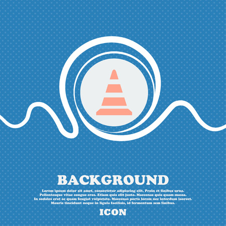 traffic pylon: road cone icon. Blue and white abstract background flecked with space for text and your design. Vector illustration Illustration