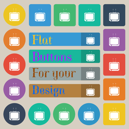tvset: TV icon sign. Set of twenty colored flat, round, square and rectangular buttons. Vector illustration Illustration