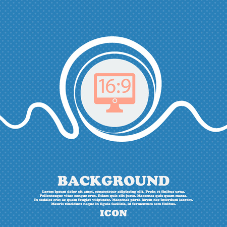 blue widescreen widescreen: Aspect ratio 16:9 widescreen tv icon sign. Blue and white abstract background flecked with space for text and your design. Vector illustration