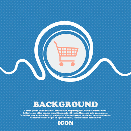 time account: shopping cart sign icon. Blue and white abstract background flecked with space for text and your design. Vector illustration