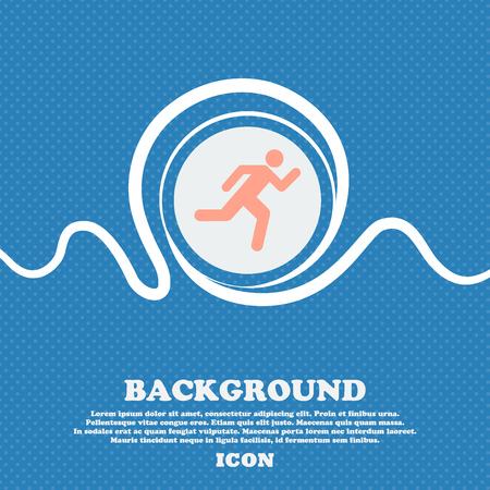 runner up: running man sign icon. Blue and white abstract background flecked with space for text and your design. Vector illustration