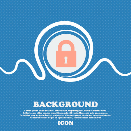 safest: closed lock sign icon. Blue and white abstract background flecked with space for text and your design. Vector illustration