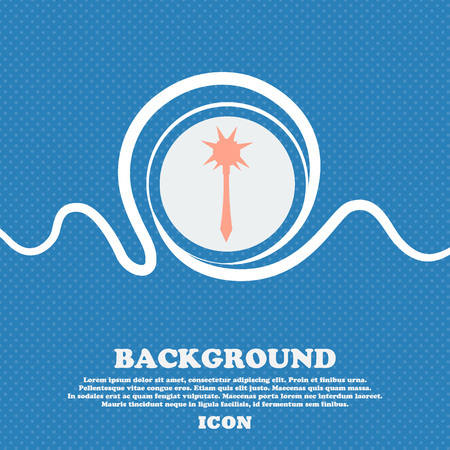 adventure story: Mace sign icon. Blue and white abstract background flecked with space for text and your design. Vector illustration