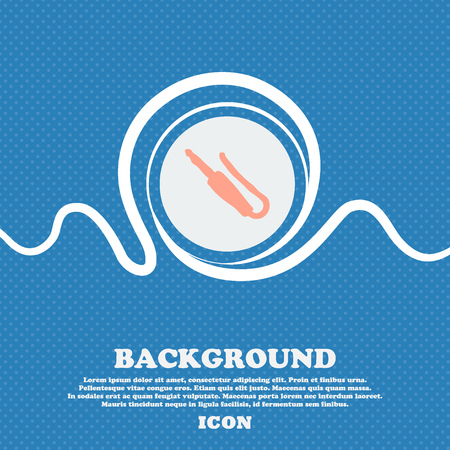 minijack: plug, mini jack sign icon. Blue and white abstract background flecked with space for text and your design. Vector illustration