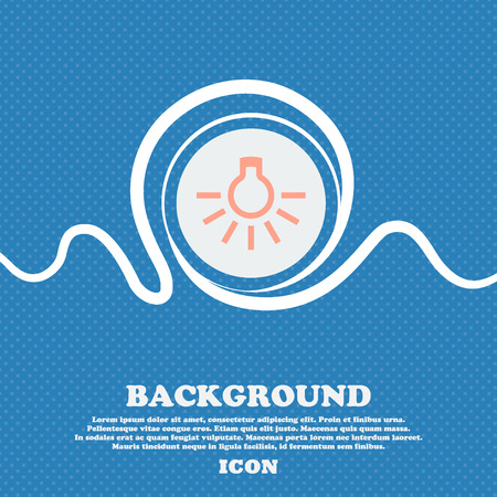 scriibble: light bulb sign icon. Blue and white abstract background flecked with space for text and your design. Vector illustration