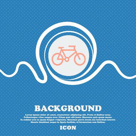 biking glove: bike sign icon. Blue and white abstract background flecked with space for text and your design. Vector illustration