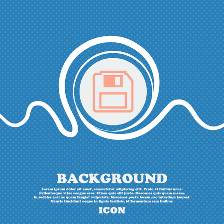 floppy drive: floppy disk sign icon. Blue and white abstract background flecked with space for text and your design. Vector illustration Illustration