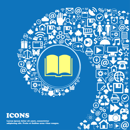 spiral book: Book icon . Nice set of beautiful icons twisted spiral into the center of one large icon. Vector illustration