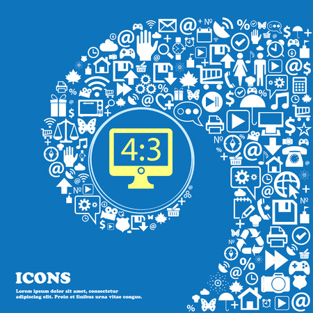 inches: diagonal of the monitor 21 inches icon sign . Nice set of beautiful icons twisted spiral into the center of one large icon. Vector illustration