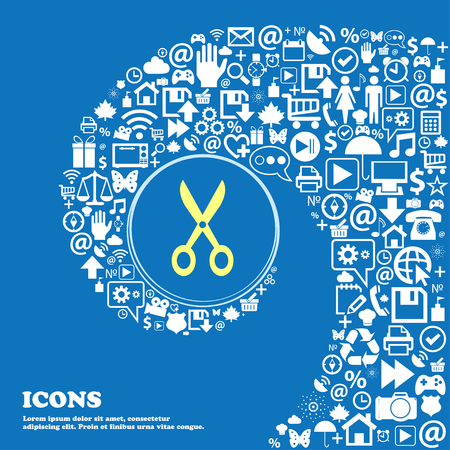coiffure: Scissors icon . Nice set of beautiful icons twisted spiral into the center of one large icon. Vector illustration
